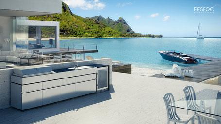 Cuisine d'été extérieure luxe inox marbre