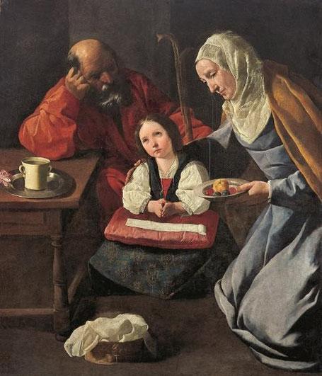 La familia de la Virgen de Francisco Zurbarán.1630-35.Obra aislada de devoción privada,la escena de gran intimidad familiar representa a la Virgen niña sentada rodeada de sus padres,aire doméstico de gran humanidad.