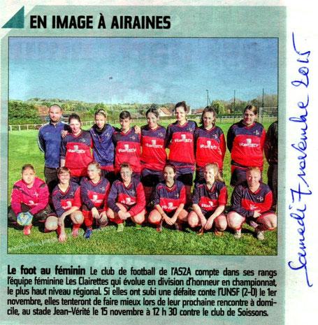 Article du Courrier Picard du samedi 7 novembre 2015 en page locale