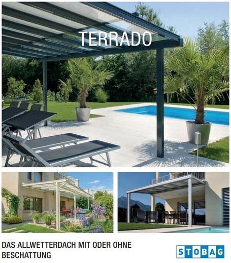 Stobag Terrado, Glasdach, Glasdachsystem, Beschattung, Wintergarten, Storen
