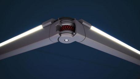 Storen LED Beleuchtung an den Gelenkarmen