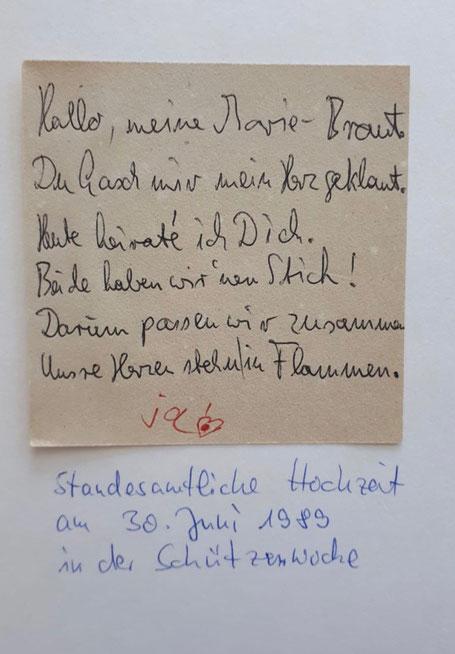 """Uwes Gedicht zum Tag der Hochzeit im Juni 1989! Von Maria stammt das """"Ja""""!"""