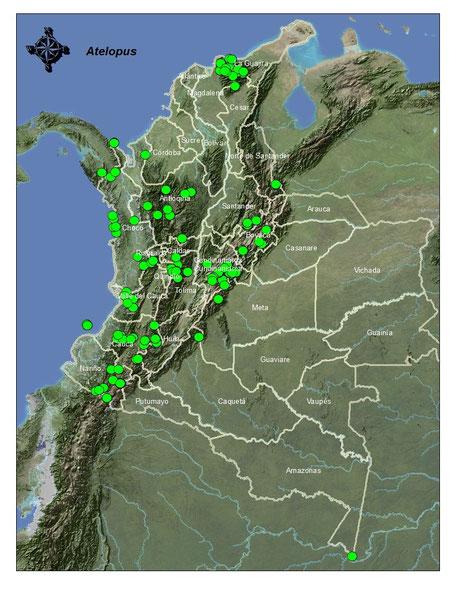 Distribución de los registros en Colombia
