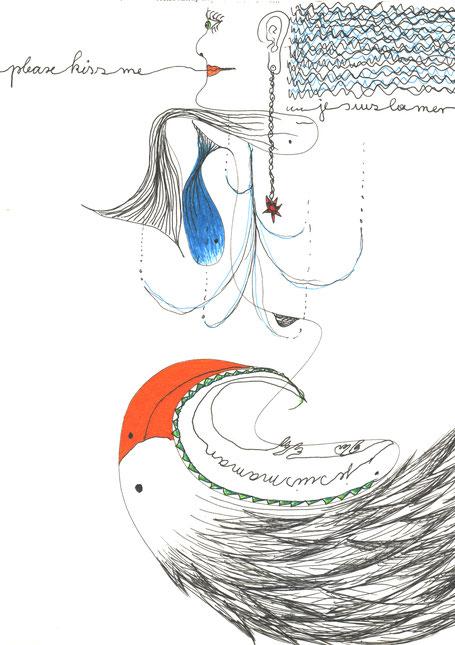 'Je suis la mer' - Zeichnung - Heike Wanner