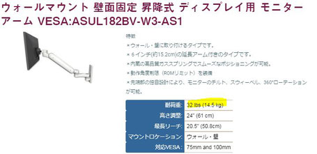 ウォールマウント 壁面固定 昇降式 ディスプレイ用 モニターアーム VESA:ASUL182BV-W3-AS1