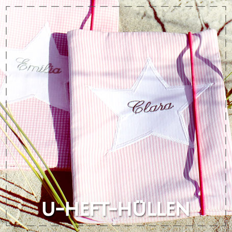 Julia Design Handarbeit handmade Stoff Untersuchungsheft Hülle U-Heft-Hülle Baumwolle