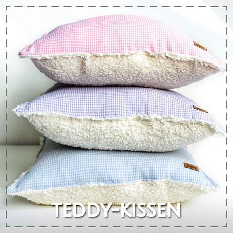 Julia Design Handarbeit handmade Stoff Baumwolle Kissen Teddyplüsch weich kuschelig