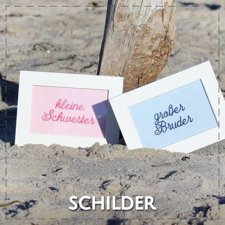 Julia Design Handarbeit handmade Stoff Schild personalisierbar Name Wunschname weiß