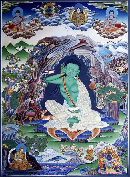 Milarepa in seiner Himalaya-Höhle; tibetische Darstellung