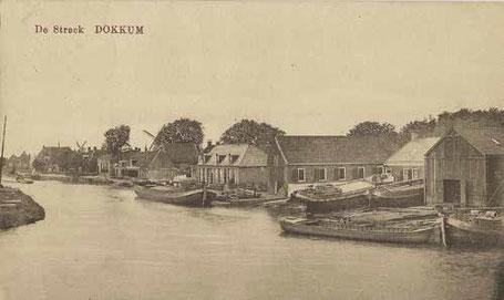 De werf van Barkmeijer in 1920 met twee schepen op de langshelling