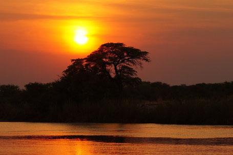 Sonnenuntergang, Botswana-Reise