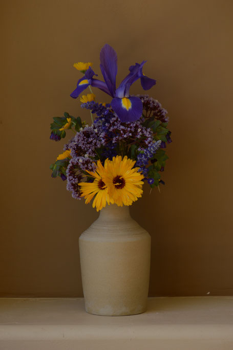 small sunny garden, desert garden, amy myers, photography, garden photography, in a vase on monday, iavom, monday vase, iris, dutch, blue magic, stoneware, pottery, ceramics, limonium perezii, calendula