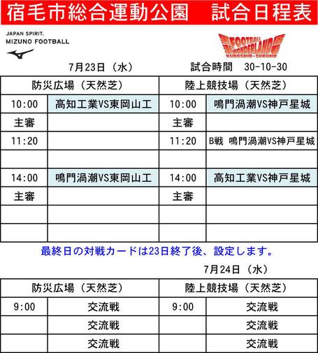 ミズノサマーカップ宿毛会場試合日程表