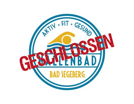 Logo Hallenbad Bad Segeberg mit Geschlossen Aufschrift