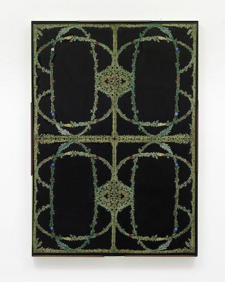 「エコーの森」  2003年 B2サイズ(73X51,5X3cm)、切り紙細工に彩色。木製パネル、紙、ガラス