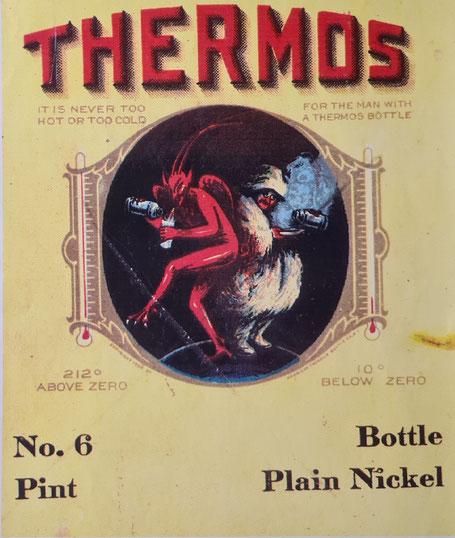 Thermos-Werbung USA nach 1913 der American Thermos Bottle Co. auf  Verpackungen
