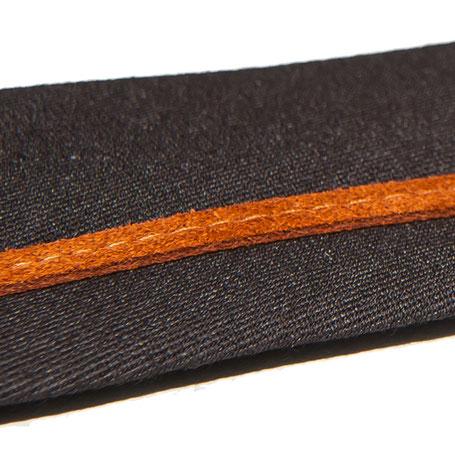 Smalle stropdas Senor Guapo chocolade bruin cognac suede bies modern