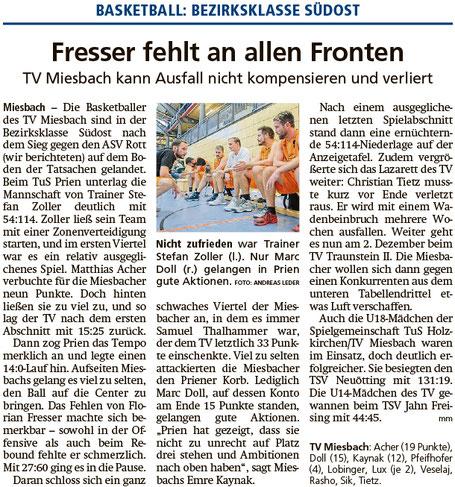 Bericht im Miesbacher Merkur am 21.11.2018 - Zum Vergrößern klicken