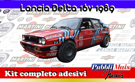 lancia delta integrale hf 16v red martini sanremo 89 biasion auriol kit sticker adhesive decal