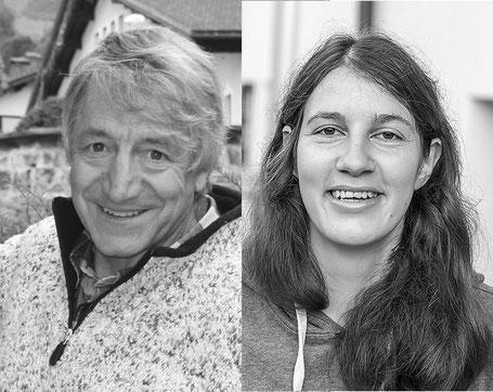 Armin Fasser und Maria Blaser schnitzen auf dem Schulhausplatz