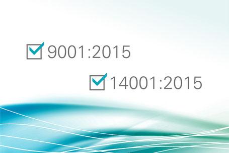 Die Roos GmbH ist zertifiziert nach DIN EN ISO 9001:2015 und DIN EN ISO 14001:2015