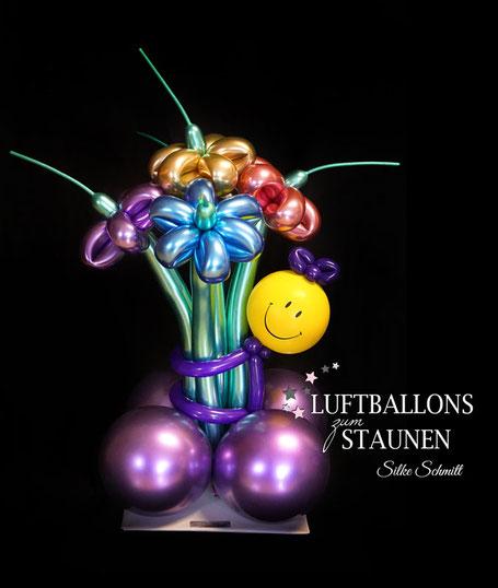 Luftballon Ballon Ballonmodellage Twisten Modellage Blumenstrauß Modellierballon Smiley Männchen Blume Chrome Metallic elegant Geburtstag Geschenk Überraschung Mitbringsel Versand Geldgeschenk Geld
