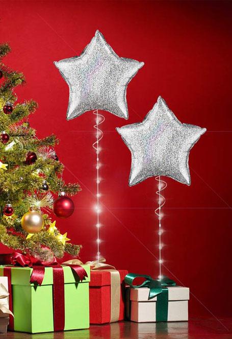 Ballon Luftballon Heliumballon Deko Dekoration Überraschung Mitbringsel Ballonpost Ballongruß Versand verschicken Weihnachten Paket Geschenk Idee Ballonpost holographisch glitzer LED Band Licht beleuchtet
