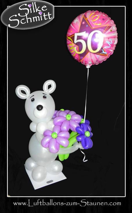 Ballon Luftballon Folienballon Heliumballon Tiere Bär Teddy Teddybär Blumenstrauß mit Blumen Geschenk Mitbringsel Geburtstag Geburtstagsgeschenk Überraschung Versand verschicken Ballongruß Ballonbox Box Ballonversand