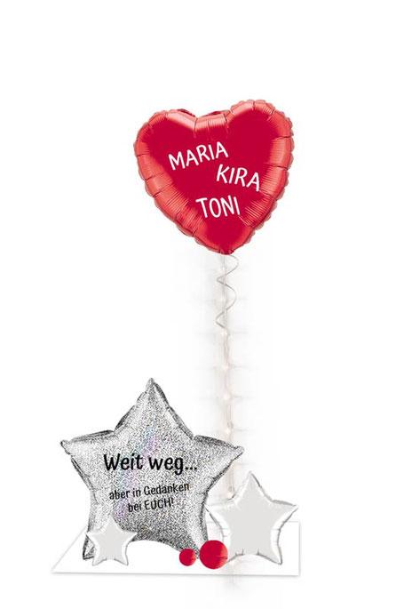 Ballon Luftballon Heliumballon Deko Dekoration Überraschung Mitbringsel Ballonpost Ballongruß Versand verschicken Weihnachten Paket Geschenk Idee Ballonpost holographisch glitzer LED Band Licht beleuchtet Weit weg aber in Gedanken bei Euch Dir Box