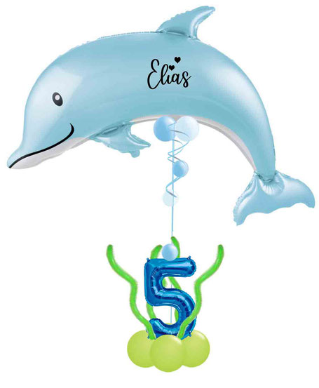 Ballon Folienballon Heliumballon Delfin Geschenk Geburtstag Mädchen Junge personalisiert mit Namen Alter Zahl Wasser Meer unter Fisch Geschenk Idee Deko Dekoration Versand Box XXL Überraschung verschicken blau Elias Mathilda