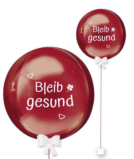 Ballonkugel Orbz Bleib gesund personalisiert beschriftet Firma Versand Mitarbeiter Kollege Nachbar Freunde Familie Aufheiterung Ballon