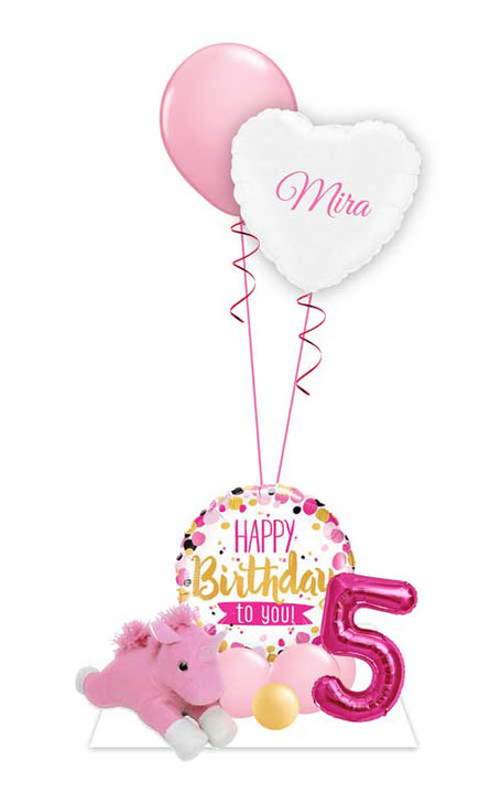 Luftballon Heliumballon Ballon Bouquet Gruß Strauß Helium Herz Einhorn Plüschtier Teddy Happy Birthday Geburtstag Kindergeburtstag Party Feier Deko Tischdeko Dekoration Versand Mitbringsel Überraschung Mädchen pink rosa gold Zahl mit Namen personalisiert