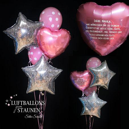 Luftballon Ballon Folienballon Stern Herz Dots Heliumballon Ballonbouquet Bouquet Strauß Ballonstrauß Geschenk Versand Geburtstag personalisiert Personalisierung mit individuellem Text Grüße Ballongrüße Gruß Ballongruß Geschenk Mitbringsel Deko Dekoration