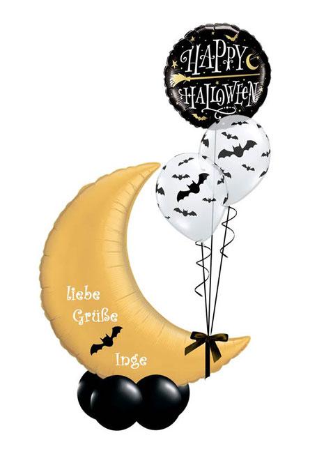 Ballon Luftballon Folienballon Dekoration Geschenk Halloween Party Deko Tischdeko Mitbringsel Versand Heliumballons Happy Halloween Happy Vampir Fledermaus gruselig liebe Grüße Überraschung Mond  Bouquet Hexe Besen Namen personalisiert Personalisierung