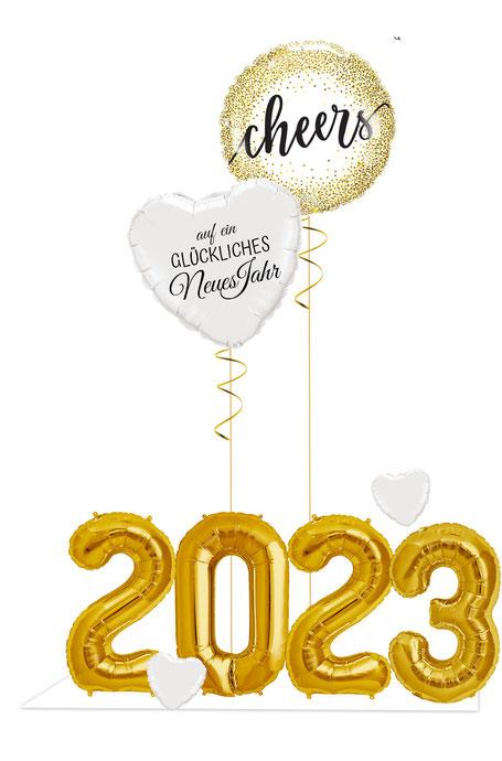Versand Deko Dekoration Party Feier Silvester Neujahr Ballon Luftballon Zahlen Jahreszahl Folienzahl Folienballon 2021 Jahreswechsel Cheers auf ein glückliches neues Jahr Heliumballon 2021 Herz