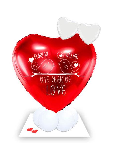 Ballon Luftballon Heliumballon Deko Dekoration Überraschung Mitbringsel Ballonpost Ballongruß Versand verschicken Ich liebe dich Herz One year of love Geburtstag Jahrestag Hochzeitstag Geschenk Idee Ballonpost Bouquet Heliumballons personalisiert