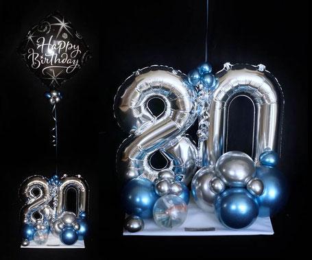 Luftballon Ballon Design Arrangement Heliumballon Geschenk Mann Frau Geburtstag Überraschung Mitbringsel Geldgeschenk mit Geld runder 30 40 50 60 70 80 90 100 Organic-Style Happy Birthday chrome blue mauve rose edel außergewöhnlich modern Versand
