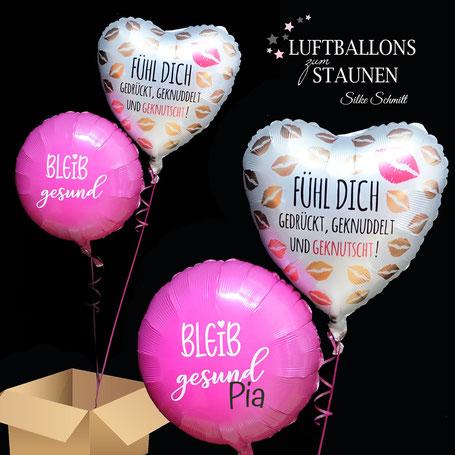 Ballon Luftballon Heliumballon Corona Krise Pandemie bleib gesund zuhause fühl dich gedrückt geknuddelt und geknutscht Versand Ballonpost Post Grüße Überraschung Herz Grüße Ballongrüße