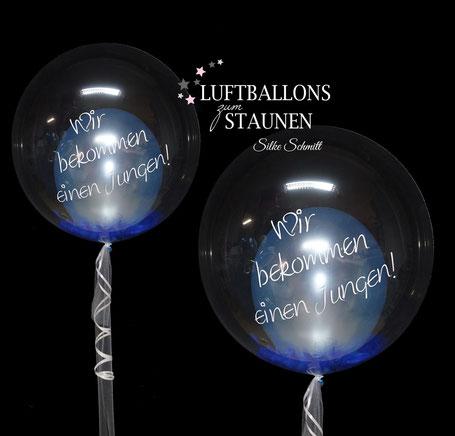 Luftballon Ballon Geschenk Bubble Wunschbubble elegant exlusiv Versand Helium Geburt endlich da Baby mit Name personalisiert Personalisierung Herz Überraschung Deko Dekoration Geschenk Mitbringsel Eltern Krankenhaus Junge Mädchen Wir bekommen einen Jungen