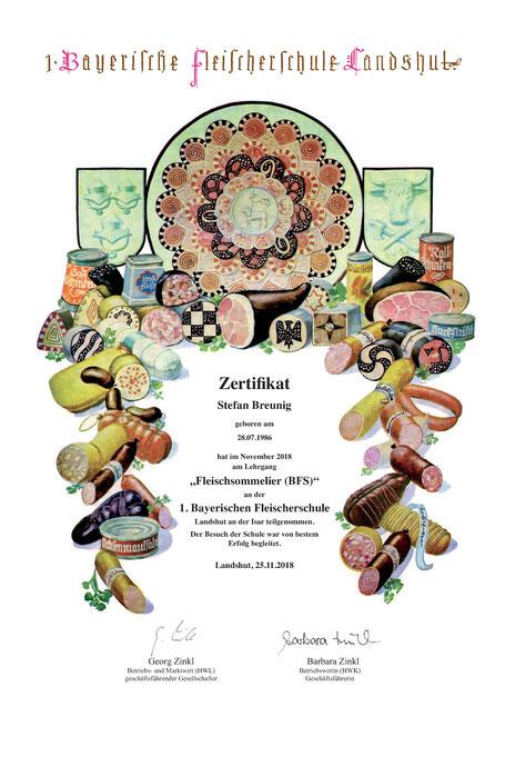 Urkunde der I. Bayerische Fleischerschule Landshut