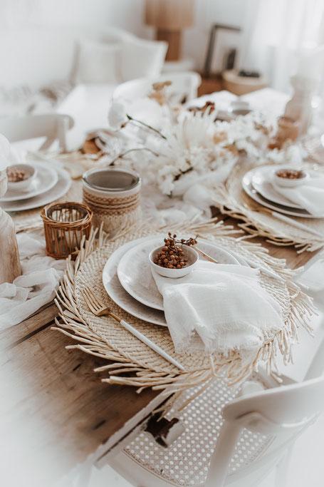 Boho Hochzeit Tischsets Bast