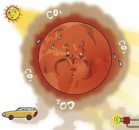 Die Welt im Schwitzkasten: Kohlendioxid lässt die Durchschnittstemperatur ansteigen.