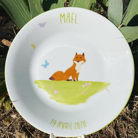 assiette enfant personnalisée renard