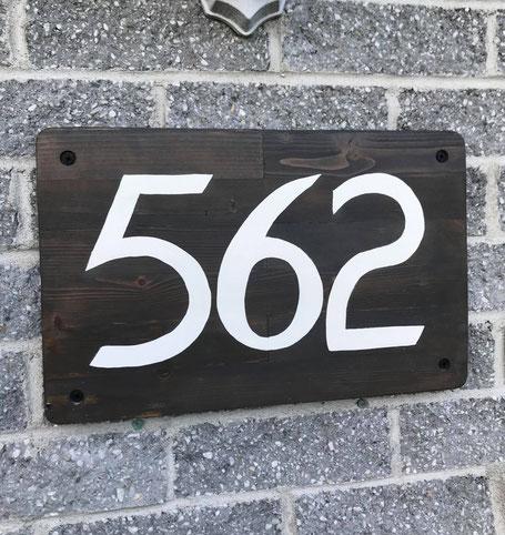 numéros civique, plaque d'adresse, blanc, bois, noir