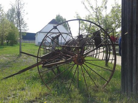 Pferderechen. Zweirädriger Heu- und Getreiderechen im Museumsdorf Niedersulz fotografiert.