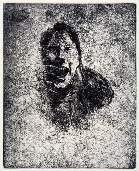 Cartografía (autorretrato) 2005, aguafuerte y barniz blando 25.5X20 cm
