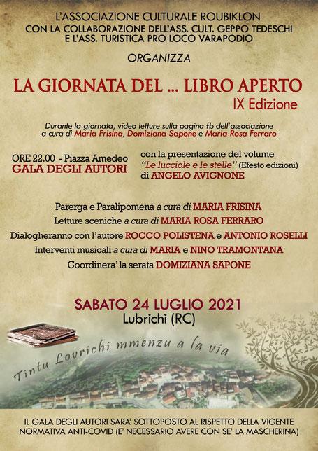 """Lubrichi (Santa Cristina d' Aspromonte) - """" La Giornata del ... Libro Aperto.  IX edizione"""". 24 luglio 2021"""