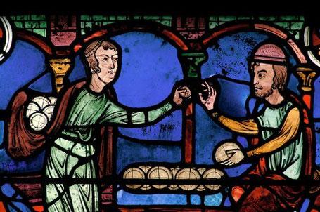 Corporation des talemeliers, vitrail de la cathédrale de Chartres, XIIIe siècle.