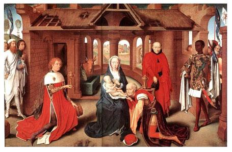 (4) Un des rois de L'Adoration des mages de Hans Memling v.1470.