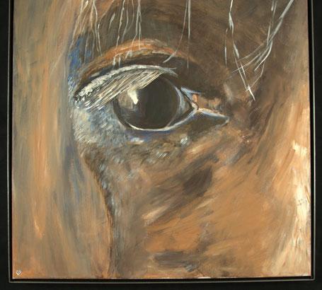 Bild eingerahmt mit Eisenrahmen - Pferd, Gemälde auf Leinwand von L.W.